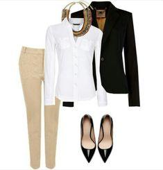 Khaki pants, white blouse, blazer and accessories