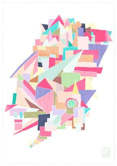 Geometric Fine Art Print of an Original Painting A4/ by UnmuDesign, ¥2000