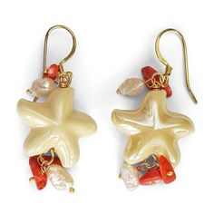 earrings with vanilla colored porcelain sea stars, corals and pearls CAPRI Red Flowers, Spring Flowers, Capri, Pearl Color, How To Make Earrings, Spring Day, Pendant Earrings, Italian Fashion, Beautiful Islands
