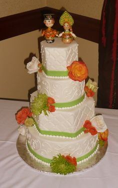 Lime Green and Orange Wedding Cake - Bright and Lovely
