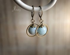 So simple and pretty Simple Earrings, Blue Earrings, Beautiful Earrings, Beaded Earrings, Beaded Jewelry, Gemstone Earrings, Fall Jewelry, Jewelry Crafts, Shabby Chic Jewelry