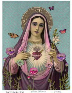 Our Lady in Purple Sacred Heart of Mary. Oh sweet sweet Mother of God we honor you and praise your love and intersession to Jesus. Ask Mary and all the angels and saints to pray for you just as you would ask a friend. Blessed Mother Mary, Blessed Virgin Mary, Virgin Mary Art, Virgin Mary Painting, Divine Mother, Religious Icons, Religious Art, Religious Images, Religion Catolica