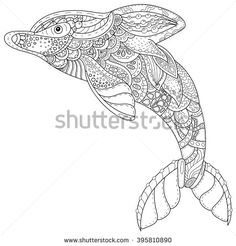 Zentangle Stylized Image Of Totem Animal Dolphin Adult Anti Stress Page For Coloring Book
