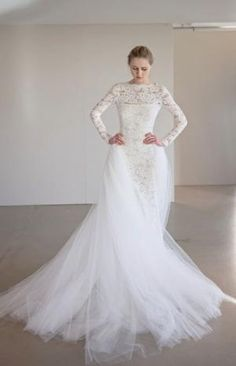 Romantic lace long-sleeve wedding dress with elegant tulle overskirt by nichole