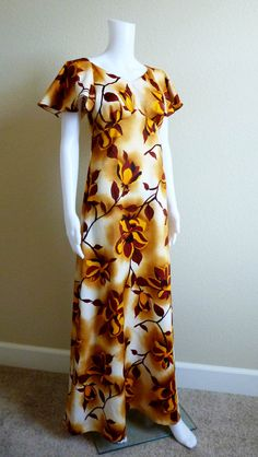 Vintage Hawaiian Maxi Dress Gown by Pomare by VintageAndOddities, $65.00 Hawaiian Muumuu, Vintage Hawaiian, South Pacific, Modern Fashion, Plus Size Dresses, Textile Design, Islands, Gowns, Style Inspiration