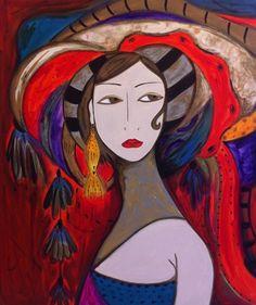 Pintura em tela, Mulher de Turbante vermelho