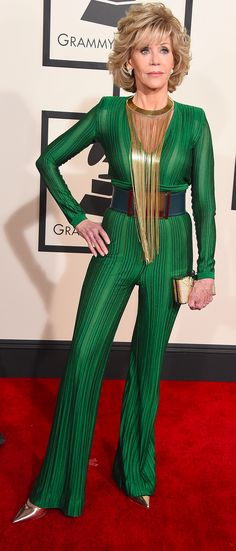 Jane Fonda in Balmain @2015 Grammy