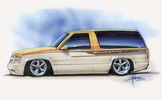 Chip Foose automotive design, custom cars, art and the Overhaulin' television show. Chip Foose, Car Design Sketch, Car Sketch, Custom Trucks, Custom Cars, 2 Door Tahoe, Car Drawing Pencil, Cool Car Drawings, Hot Rod Pickup