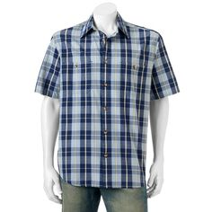 Men's Woolrich Tall Pine Classic-Fit Plaid Ripstop Button-Down Shirt, Med Blue