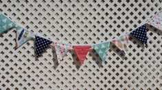 Wild One Birthday Banner, Fabric Banner, TeePee, Feathers, Arrows, Baby Shower, Navy, Coral, Aqua, Girl Birthday Banner, First Birthday by FabricBuntingAccents on Etsy