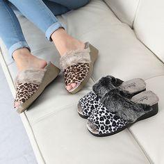 Made In Korea Leopard Sandal Women's Slipper of Fur Finish Black & Brown #DreamTree #SlipperShoes