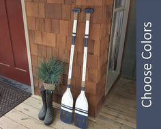 WOODEN OARS pair of oars 2 oars decorative oars painted oar oar decor nautical wall decor lake house decor beach house decor