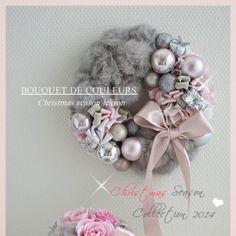 【募集】クリスマスシーズン レッスン2014 Grayish Pink Fur Wreath の画像 東京 新宿・神楽坂プリザーブドフラワー・アーティフィシャルフラワー&マカロンタワー・クレイ・グルーデコ教室