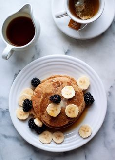 Gluten-Free Vegan Banana-Oat Blender Pancakes recipe - Love these healthy pancakes! Mix the pancake batter entirely in your blender then pour it right out of the pitcher onto your griddle. Hearty, tender, delicious, and healthy to boot. No added fat, either.