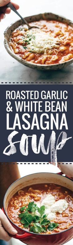 This Roasted Garlic and White Bean Lasagna Soup is nutritious and comforting and topped with a ricotta Parmesan mixture - perfect for cold winter nights!