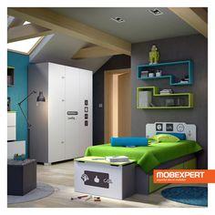 Colectia pentru camera de copii LOL are ca sursa de inspiratie lumea virtuala, care abunda de fete zambitoare, like-uri sau prescurtari precum cea care da numele colectiei. Combinatia cromatica predominanta a pieselor ce o compun este clasicul alb-negru, duet intrerupt ocazional de cate o pata de culoare verde sau turcoaz, menita sa accentueze aerul tineresc al gamei.  #copii #camera #mobilier #mobexpert Kids Bedroom, Bedroom Decor, Boy Room, Bunk Beds, Home Furniture, Entryway, Cool Stuff, Storage, Interior