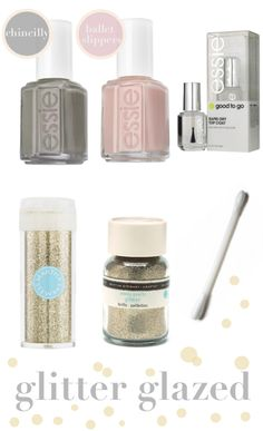 DIY ombre glitter nails- apply regular nail polish, take q-tip and dip in fine glitter from a craft store, tap onto nail tips and apply clear top coat