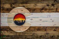 Custom 6x4ft Denver Skyline Flag! Follow us on Facebook or instagram! @coloradowoodcraft or check out our website COWoodcraft.com