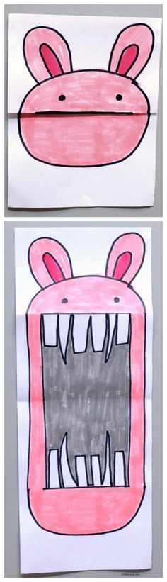 Folded bunny paper art project * art projects for kids * easy art Paper Art Projects, Easy Art Projects, Projects For Kids, Diy For Kids, Kids Crafts, Paper Crafts, Drawing Projects, Funny Crafts For Kids, Funny Kids