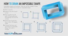 Drawing Tips A step-by-step bide to drawing impossible shapes. - An impossible shape is a two-dimensional image that looks like it could exist in three dimensions, but in reality cannot. Why can't it exist — and how do you draw one? Beginner Sketches, Drawing For Beginners, Drawing Tips, Manga Drawing, Drawing Tutorials, Art Tutorials, Drawing Ideas, Impossible Triangle, Impossible Shapes