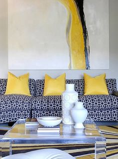Tobi Fairley Interior Design - Bridgewater Estates - traditional color scheme (blue/white/yellow) made CONTEMPORARY w/ bold choices in art, accessories, & the fabric print