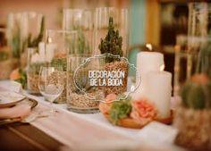 Decoración de boda con terrarios