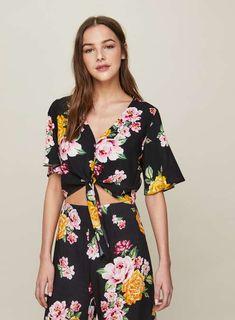 4b034c102f PETITE Black Floral Print Angel Sleeve Top - Tops - Clothing