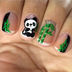 Opting for bright colours or intricate nail art isn't a must anymore. This year, nude nail designs are becoming a trend. Here are some nude nail designs. Animal Nail Designs, Animal Nail Art, Cute Nail Art Designs, Panda Nail Art, Kawaii Nail Art, Panda Bear Nails, Nail Art For Kids, Cool Nail Art, Cute Nails