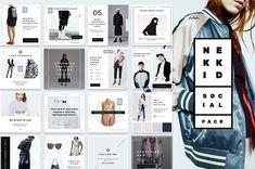 Nekkid - Social Media Booster Pack by NordWood on Social Media Template, Social Media Design, Website Design Inspiration, Geometric Decor, Wordpress, Ad Design, Graphic Design, Instagram Story, Social Media