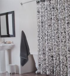 NEW Tahari Fabric Shower Curtain French Country White With Grey Scroll New