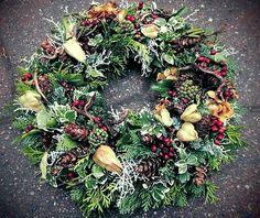 Türkranz Herbst Advent  Kranz  Weihnachten frisch gebunden   Ø 39 cm Koniferen