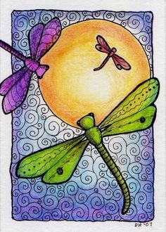 Dragonflies in the Sun  5x7 Print by crookedlittlestudio on Etsy