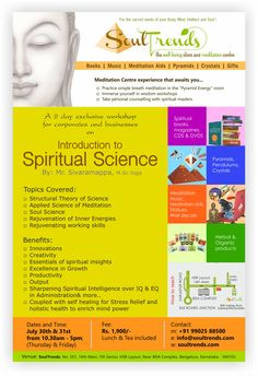 Exclusive Workshop for Corporates and Businesses on Introduction to Spiritual Science by Mr.Sivaramappa on 30th,31st