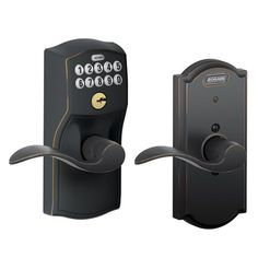 Buy Schlage FE576 CAM 716 ACC CAM Built-in Alarm, Camelot Collection Keypad Accent Lever Door Lock, Aged Bronze