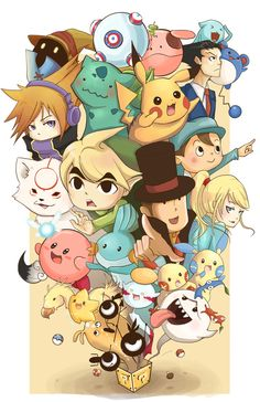 I love these games! Especially Professor Layton and Phoenix Wright .and The World Ends With You and Legend of Zelda and Pokemon and patapon . Gamer 4 Life, Professor Layton, Pokemon 20, Star Fox, Donkey Kong, Video Game Characters, First Game, Nerd Geek, Super Smash Bros