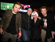 EC Twins perform in first ever EDM Pop Up Series in Downtown Las Vegas at DLVEC (Pictured: EC Twins with Derek Stevens and wife Nicole Parthum).