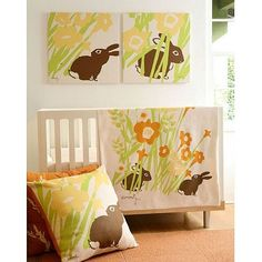Doesn't have to be bunnies, but what a great idea with the block print paintings! Can definitely recreate these! :-)