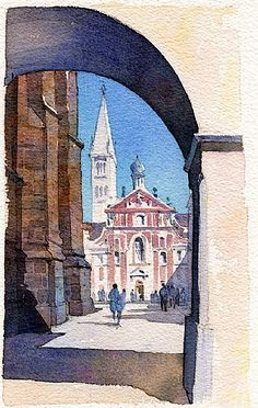 st. george's - prague by Thomas W Schaller Watercolor ~ 11 inches x 7 inches
