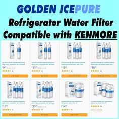 GOLDEN ICEPURE  Refrigerator Water Filter,Compatible with KENMORE Kenmore Refrigerator, Reverse Osmosis System, Water Filtration System, Water Filter, Filters, Water Purification