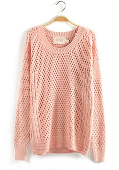 Pink Plain Hollow-out Long Sleeve Wool Blend Sweater