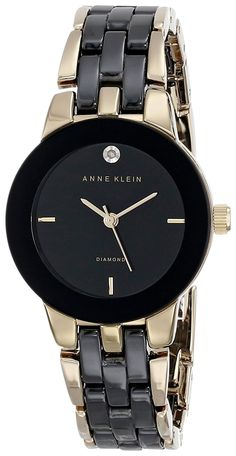 Anne Klein Women's AK/1610BKGB Diamond Dial Gold-Tone and Black Ceramic Bracelet Watch -- Want to know more, click on the image.