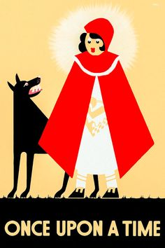 Vintage Little Red Riding Hood Poster - Fun Restored Fairy Tale Print from the 1930s