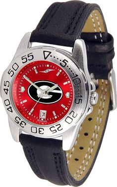 Georgia Bulldogs Men Or Ladies Sport Watch With Leather Band