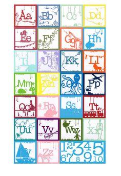 Alphabet AZ Papercut Print Poster by chloerandall on Etsy, $16.00