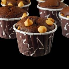 Chocolate Banana Muffins with Peanut Butter Chips