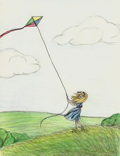 flying a kite drawing - Google Search