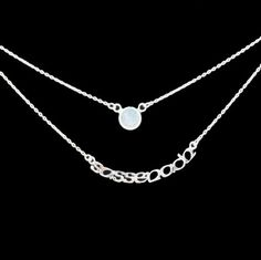 Outlander Inspired Sassenach Silver Double Chain Necklace with Moonstone   Scottish Jewellery