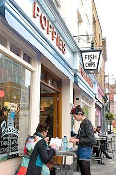 Poppies Fish and Chip shop at Hanbury Street, Spitalfields, London, England. The best fish and chips ever. Poppies London, Traditional Fish And Chips, Best Fish And Chips, Fish And Chip Shop, London 2016, Dorset Coast, London Travel, Travel Uk, London Food