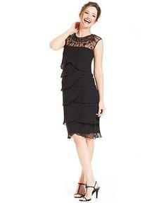 FOR MOM Patra Sleeveless Illusion Beaded Tiered Dress