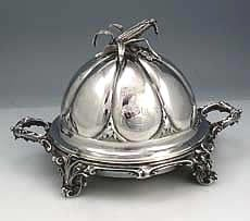 Gorham coin silver covered butter dish
